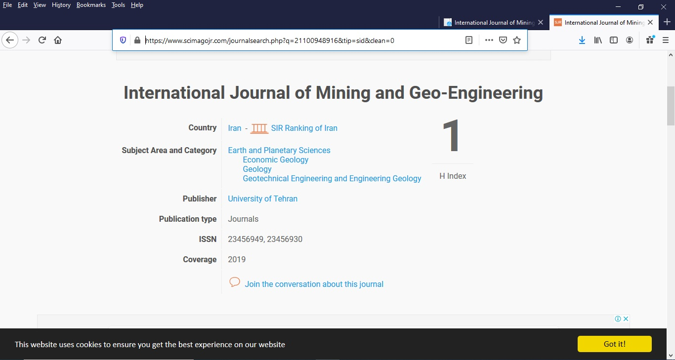 h index has been assigned to international Journal of Mining and Geo-Engineering in Scimago Journal Rank (SJR)